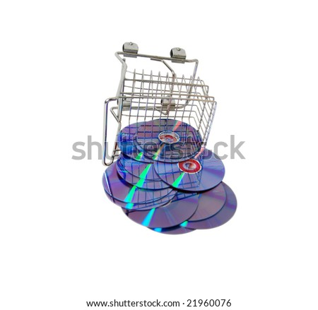 shopping cart made of metal used for carrying groceries a couple of purple dvds with red. Black Bedroom Furniture Sets. Home Design Ideas