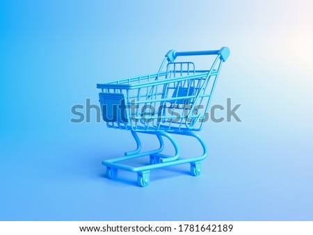 Shopping cart on a blue background. Shopping Trolley. Grocery push cart. Minimalist concept, isolated cart. 3d render illustration