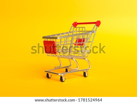Shopping cart on a yellow background. Shopping Trolley. Grocery push cart. Minimalist concept, isolated cart. 3d render illustration
