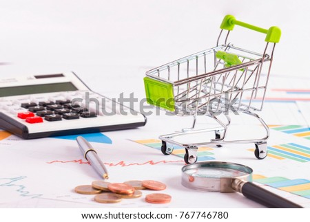 shopping cart on the statistical document #767746780