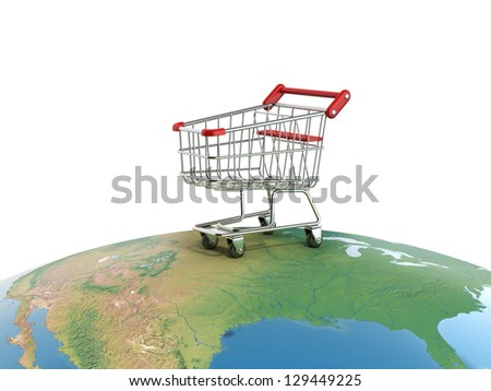 Shopping cart on top of the world