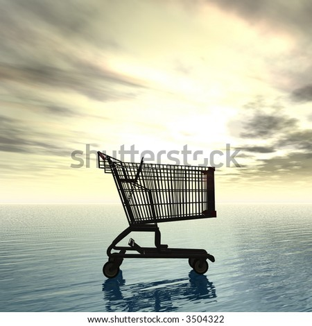 shopping cart over the ocean in sunset sky background