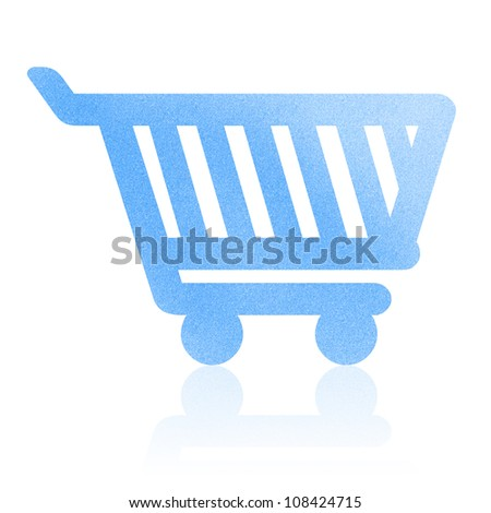 Shopping cart paper craft by cork board (clipping path)