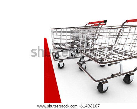 Shopping cart race. Isolated on white background. High quality 3d render.