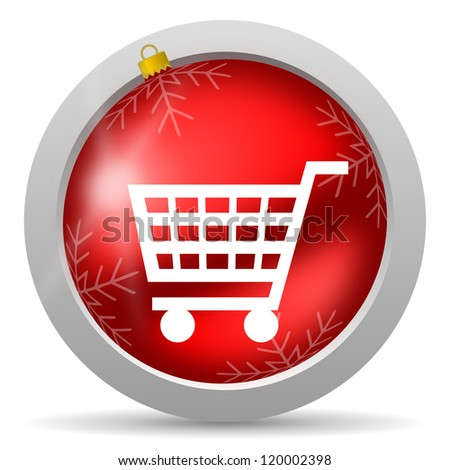 shopping cart red glossy christmas icon on white background