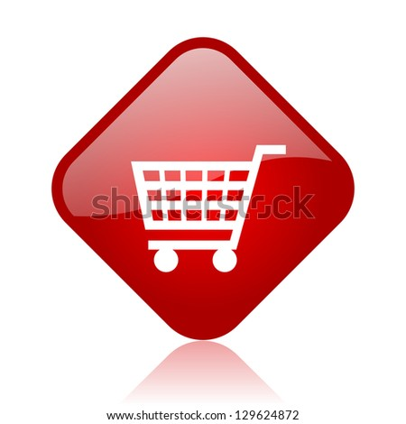 shopping cart red square glossy web icon