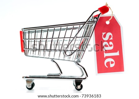 shopping cart sale isolated on white background