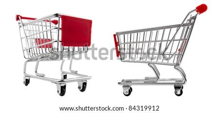 shopping cart set isolated on white