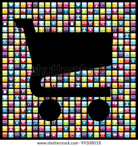 Shopping cart shape over phone application software icons background.
