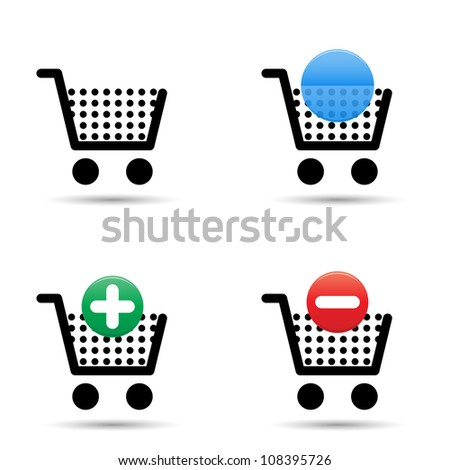 "Shopping cart trolley icons set. Includes ""empty cart"", ""filled cart"" with copy space for item count and valuation, ""add to cart"" and ""remove from cart"" icons."