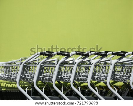 Shopping Cart Trolley in row Retail department store Consumer Business concept