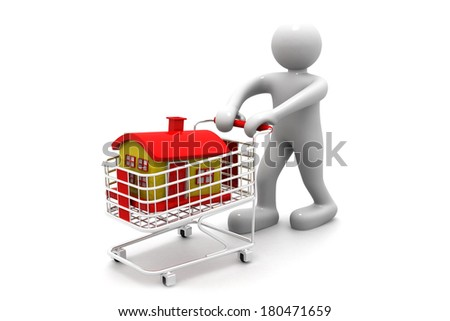 shopping cart trolley with house with business man