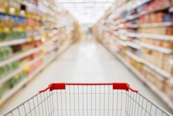 Shopping cart view in Supermarket aisle with product shelves abstract blur defocused background