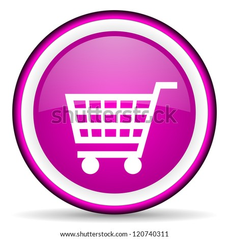 shopping cart violet glossy icon on white background