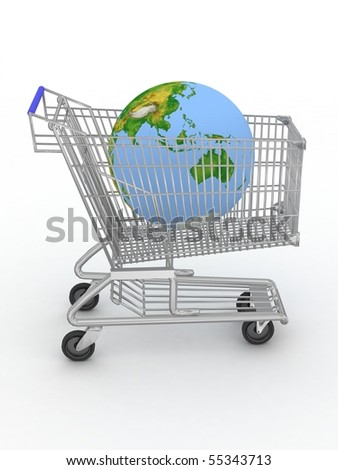 Shopping cart with a globe on a white background