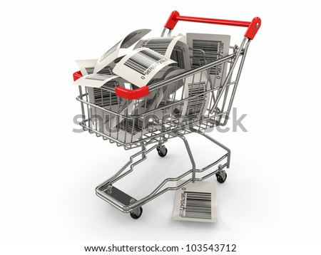 Shopping cart with barcode labels on white background. 3d