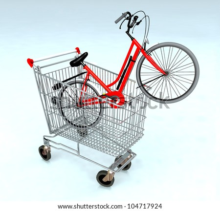 shopping cart with bycicle inside, ecommerce concept