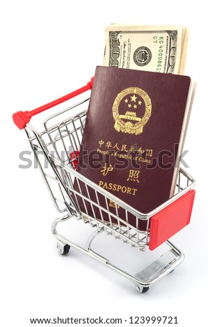 Shopping cart with chinese passport and dollars on white background