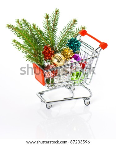 shopping cart with christmas tree decoration