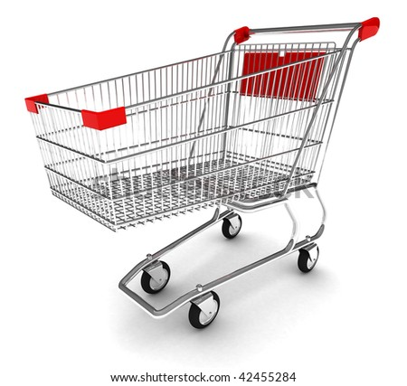 Shopping cart with clipping path - stock photo