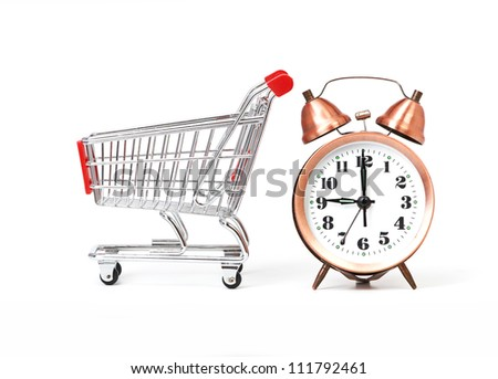 shopping cart with clock isolated on a white