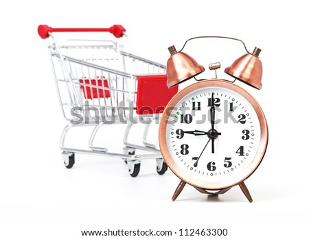 shopping cart with clock isolated on a white - stock photo