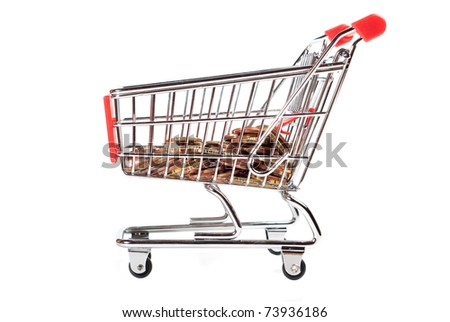 Shopping Cart with coins isolated on white background - stock photo