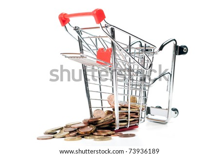 shopping cart with coins isolated on white background