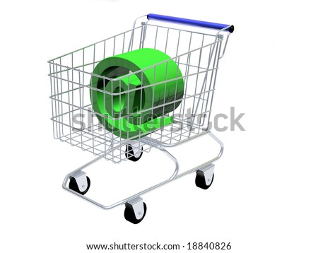 """Shopping cart with 3D """"at"""" sign in it, isolated in white background."""