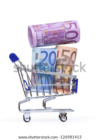 shopping cart with euro banknotes on white background - stock photo