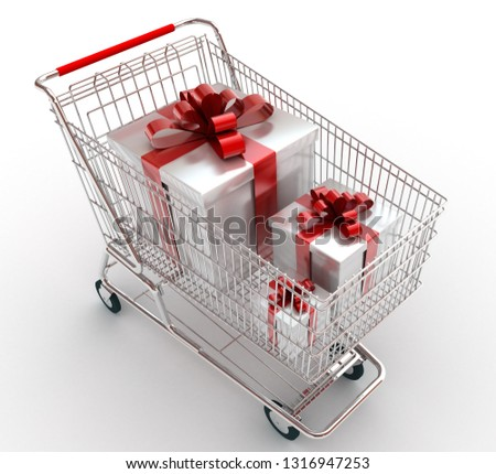 Shopping cart with gifts. 3D rendering illustration