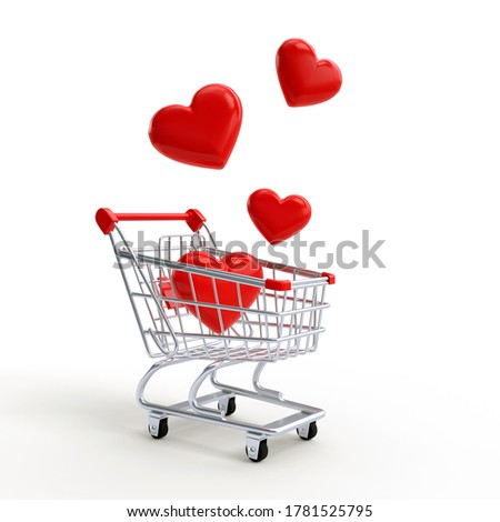 Shopping cart with hearts on a yellow background. Shopping Trolley. Grocery push cart. Minimalist concept, isolated cart. 3d render illustration