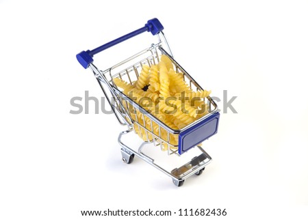 shopping cart with pasta