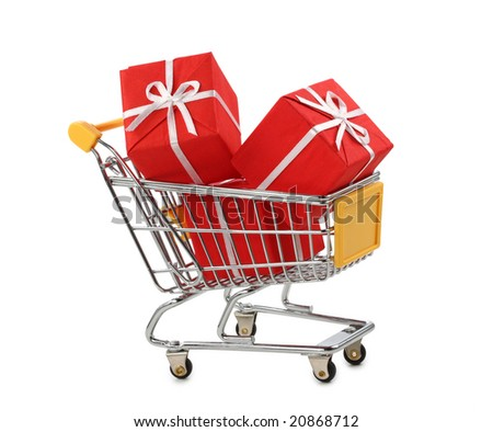 Shopping cart with presents isolated on white background - stock photo