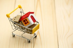 Shopping cart  with small house,shopping, rent, loan, mortgage, eco district housing concept.