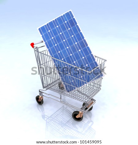 shopping cart with solar panel inside, renewable energy commerce concept