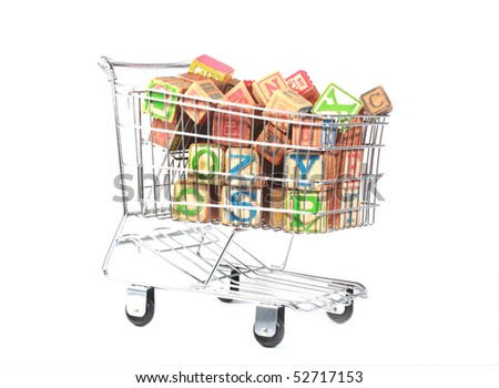 Shopping cart with wooden blocks