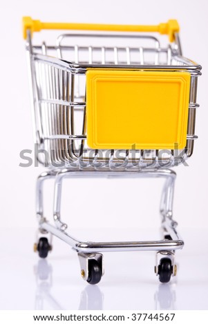 Shopping cart with yellow advertise table.