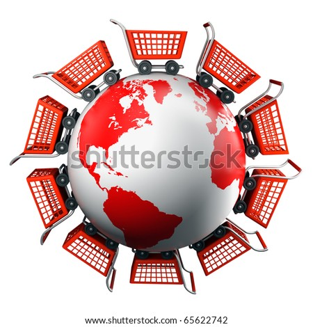 Shopping carts around the world, global market concept