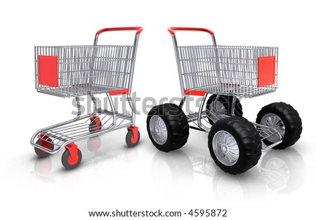 Shopping carts competition over white background - stock photo