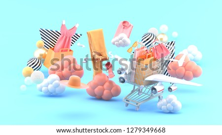 Shopping carts have wings flying among dresses, pants, shirts, hats and high heels in the blue sky.-3d rendering.