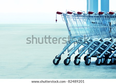 Shopping carts on a parking lot