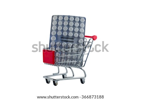 Shopping carts with tablets isolated on white background Zdjęcia stock ©