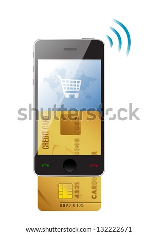 Shopping concept. Credit Card and modern mobile phone on a white background