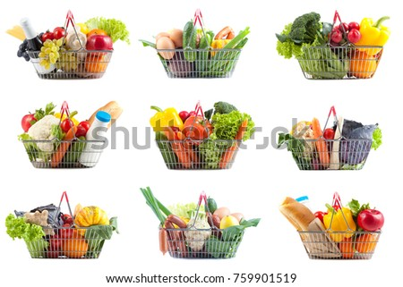 Shopping Concept:  Nine Different Perfect Shopping Carts Filled with  Bottle of Milk and Red Wine, Bread, Vegetabless and Fruit on White Background