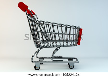 Shopping Concept. Shopping Cart on a grey background