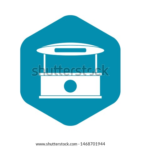 Shopping counter with tent icon. Simple illustration of shopping counter with tent icon for web