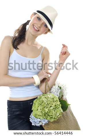 Shopping fashion woman with bag and flowers