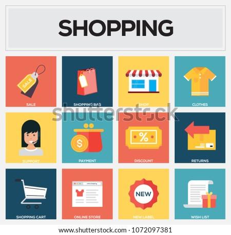 Shopping Flat Icon Set #1072097381