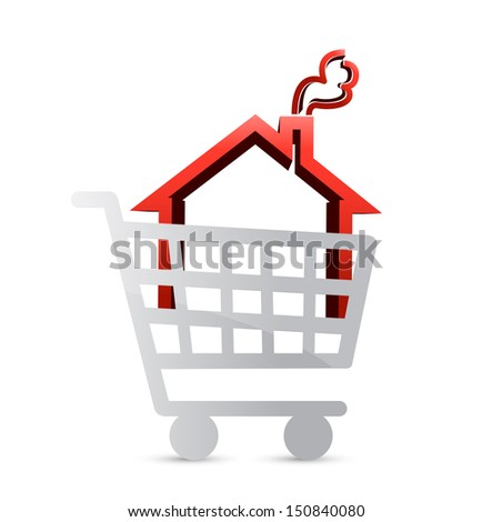 shopping for a house concept illustration design